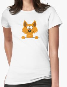 Funny cute Freaky Fox Womens Fitted T-Shirt
