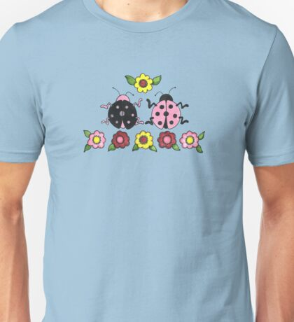 Ladybugs in Pink and Black Unisex T-Shirt