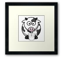 Cow Drinking Milk Framed Print
