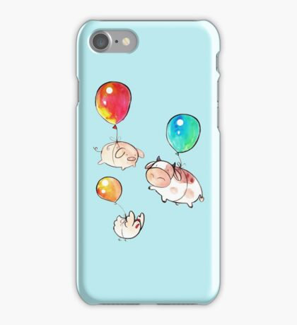 Watercolor Balloon Cow, Pig and Chicken  iPhone Case/Skin