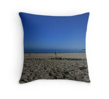Blue sky beach Throw Pillow