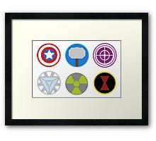 Avengers symbols-horizontal  Framed Print