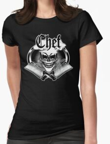 Chef Skull and Smoking Cleavers 6 Womens Fitted T-Shirt