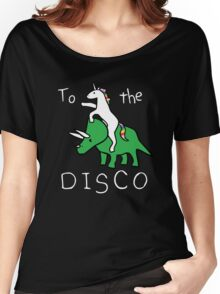 To The Disco (white text) Unicorn Riding Triceratops Women's Relaxed Fit T-Shirt