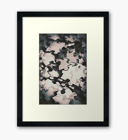 Jigsaws of double exposure Framed Print
