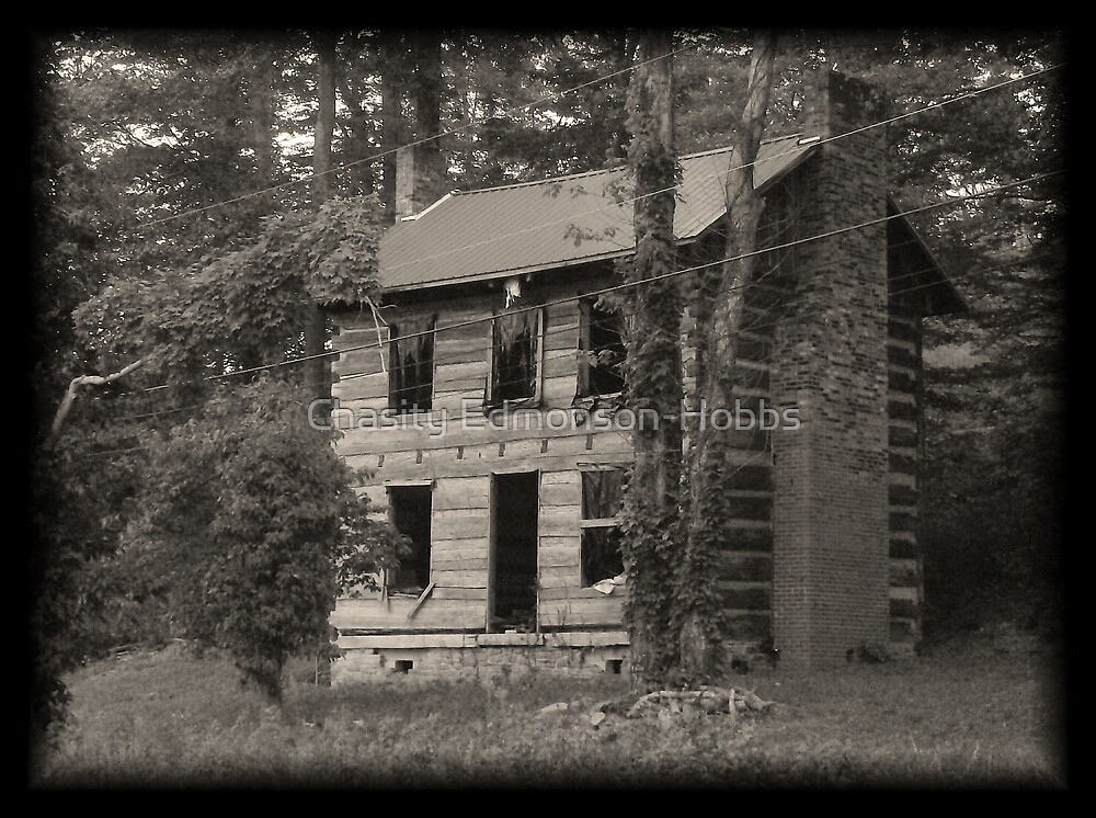 Cabin in black and white by Chasity Edmonson-Hobbs