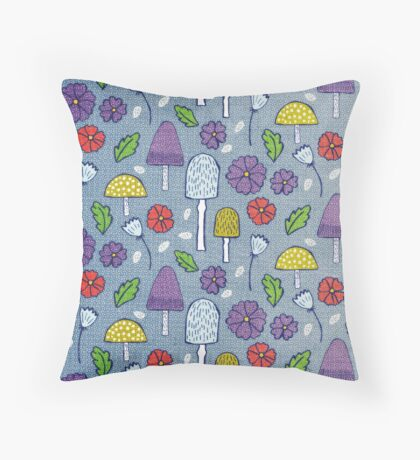 Mushrooms and Flowers Throw Pillow