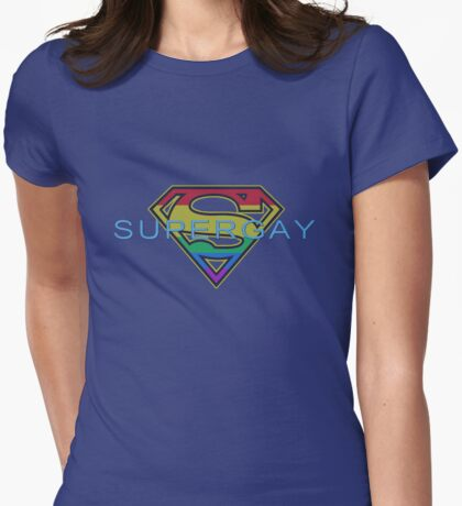 Supergay-crest Womens Fitted T-Shirt
