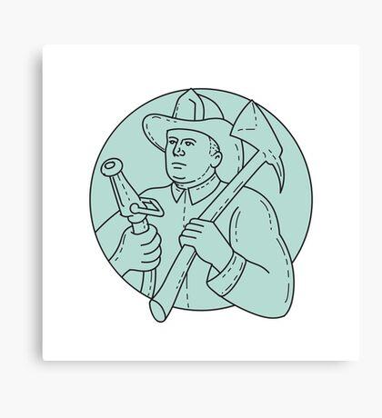 Fireman Firefighter Axe Hose Circle Mono Line Canvas Print
