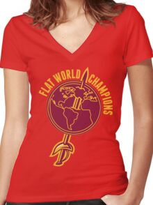 Flat World Champions (Gold/Wine) Women's Fitted V-Neck T-Shirt