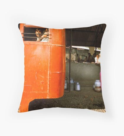 Bus Now Coming Throw Pillow