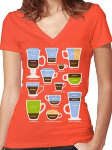 Espresso Coffee Drinks Guide Women's Fitted V-Neck T-Shirt