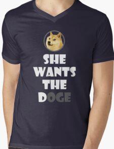 She wants the Doge Mens V-Neck T-Shirt
