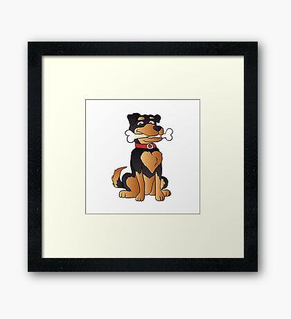 funny dog cartoon sitting. Adopt a dog Framed Print