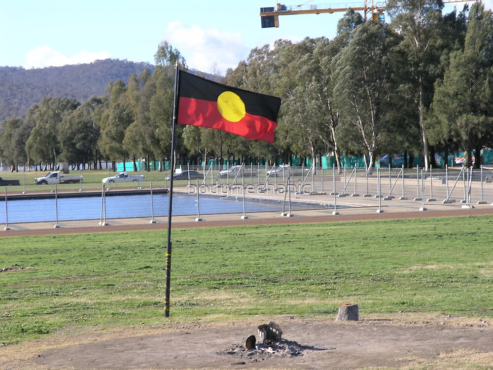 the flag of the tent embassy canberra by bodymechanic