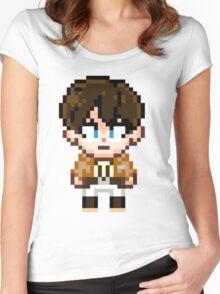 Attack on Titan - Eren Jaeger Pixel Sprite - Chibi Women's Fitted Scoop T-Shirt