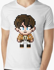 Attack on Titan - Eren Jaeger Pixel Sprite - Chibi Mens V-Neck T-Shirt