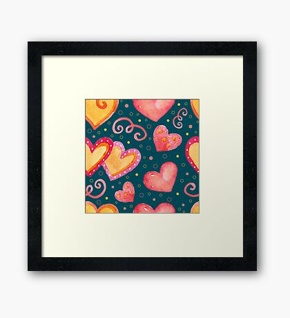Watercolor colorful hearts.  Framed Print