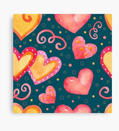 Watercolor colorful hearts.  Canvas Print