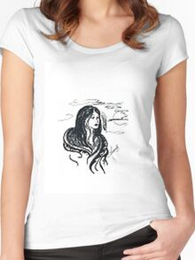 INDIAN GIRL UNDER THE MOON Women's Fitted Scoop T-Shirt