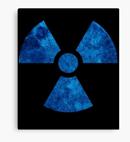 Blue Radioactive Symbol Canvas Print