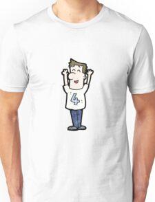 cartoon man in shirt number four Unisex T-Shirt