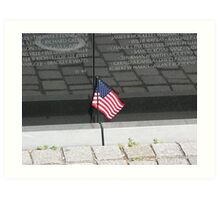 Flag At the Vietnam Memorial, Washington D.C. Art Print