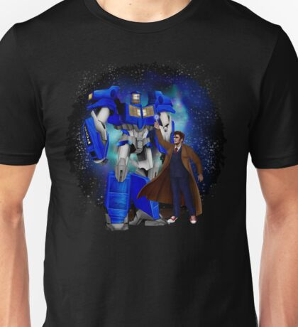 Giant retro Robot Phone Box with The 10th Doctor Unisex T-Shirt