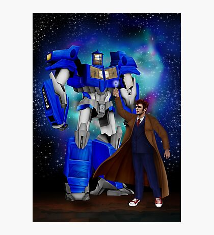 Giant retro Robot Phone Box with The 10th Doctor Photographic Print