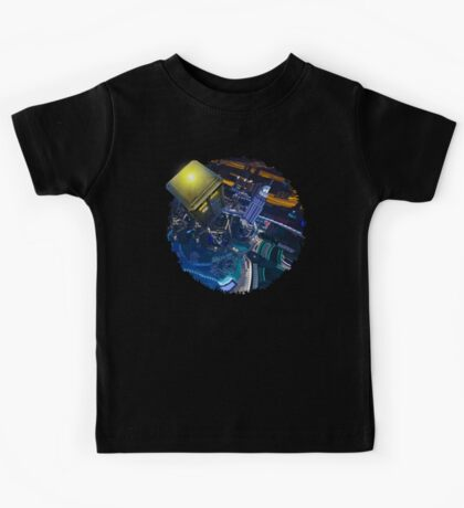 Blue Phone box flying above modern starry night city Kids Tee