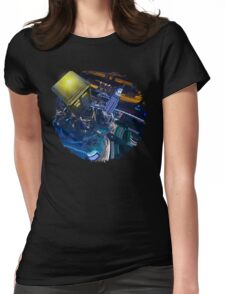 Blue Phone box flying above modern starry night city Womens Fitted T-Shirt