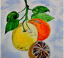 Still Life Oranges on the Branch by Allyson Kitts