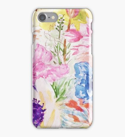 Floral sketch watercolor hand paint iPhone Case/Skin