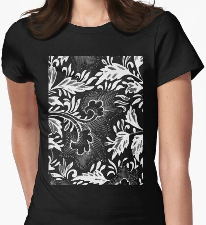 Black And White Retro Oriental Flower Art Doodle - Vintage Asian Ornamental Pattern Womens Fitted T-Shirt
