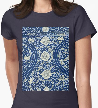White And Blue Vintage Bohemian Gypsy Style Popular Retro Floral Patterns Womens Fitted T-Shirt