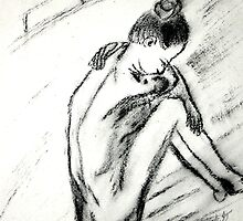 Ballerina - charcoal on paper by Allyson Kitts