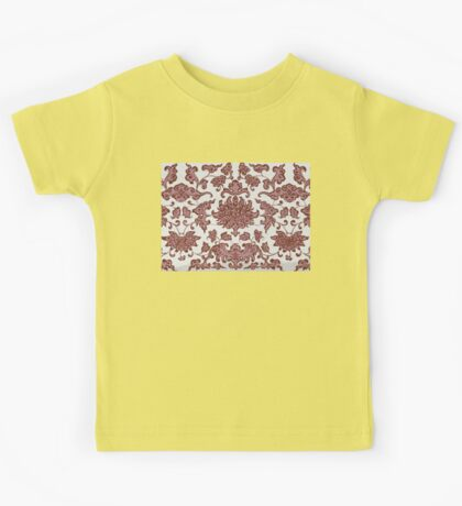 Stylish Retro Floral Patterns - Vintage Asian Traditional Oriental Pattern Collection In Dark Red And White Kids Tee