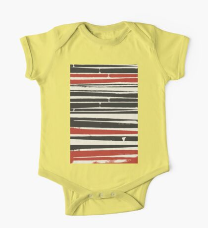 Abstract Black Red Stripe One Piece - Short Sleeve