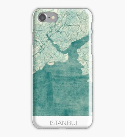 Istanbul Map Blue Vintage iPhone Case/Skin