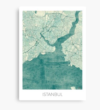 Istanbul Map Blue Vintage Canvas Print