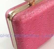 Rhinestones Clasp Ostrich Embossed PINK PU Hard Case Evening Bags Party Clutches HH-P1602 Sticker