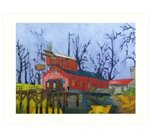 Canal Barn with Figure Art Print