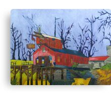 Canal Barn with Figure Canvas Print