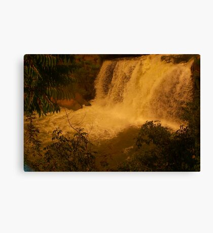 Medina Falls,  Medina, NY Starr1949 redbubble community photo photography art amber sun water falls waterfalls  Canvas Print