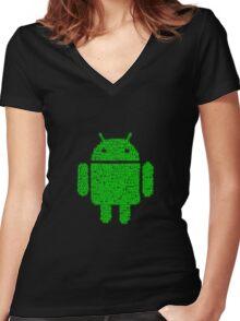 Binary-droidv2.0 Women's Fitted V-Neck T-Shirt
