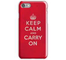 Keep Calm and Carry One Grunge Red Background iPhone Case/Skin