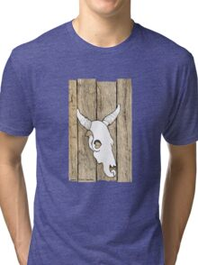 Cow Skull hanging on the Barn Tri-blend T-Shirt
