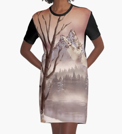 Rusty Sky Over Winter River Graphic T-Shirt Dress