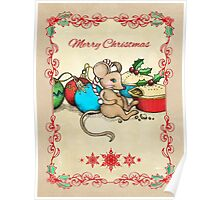 Love, Joy, PIE! Merry Christmas! Cute mouse illustration Poster