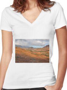 Langdale Fells  Women's Fitted V-Neck T-Shirt